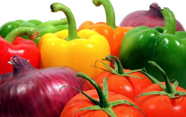 Фото обои лук, перец, овощи, помидоры, томаты