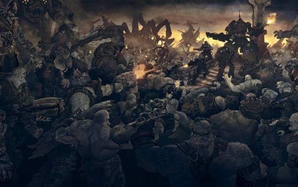 Фото обои война, монстры, солдаты, gears of war