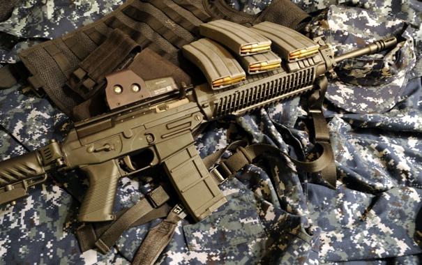 Фото обои оружие, фон, Sig556 EOtech
