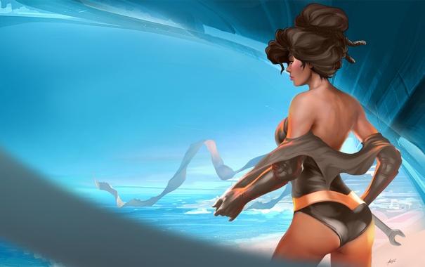 Фото обои песок, море, небо, девушка, волосы, спина, арт