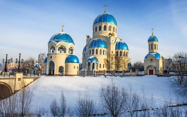 Фото обои зима, город, храм, провославие