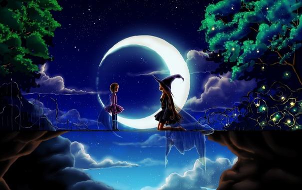 Фото обои звезды, деревья, ночь, мост, обрыв, луна, месяц