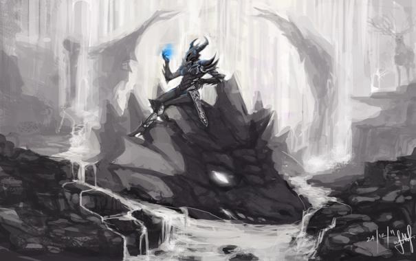 Фото обои вода, река, скалы, магия, дракон, голова, арт