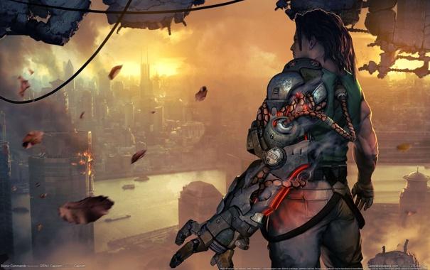 Фото обои Небоскребы, майор, коммандос, Разруха, Bionic Commando, Натан Спенсер, Био