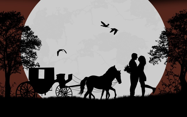 Фото обои деревья, любовь, птицы, романтика, лошадь, love, телега