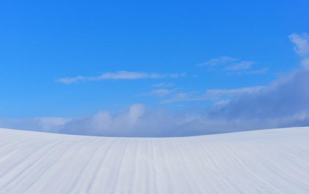 Фото обои зима, небо, облака, снег, холм