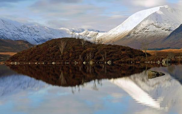 Фото обои снег, деревья, горы, озеро, отражение, остров