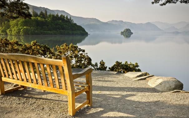 Фото обои пейзаж, озеро, скамья