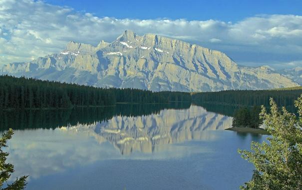 Фото обои лес, небо, горы, озеро, Канада, Альберта, Banff National Park