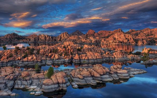 Фото обои Arizona., Watson Lake, Prescott, скалы, озеро, камни