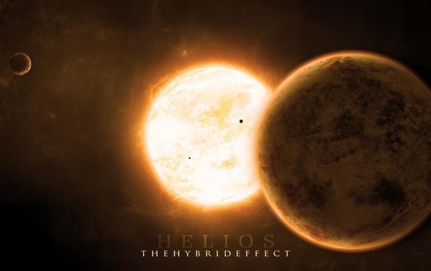 Фото обои звезда, планеты, спутники, солнечная корона