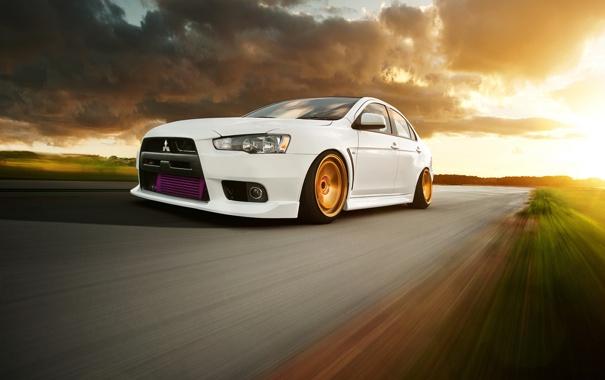 Фото обои скорость, Desktop, Mitsubishi, Lancer, white, Evolution, Автомобиль