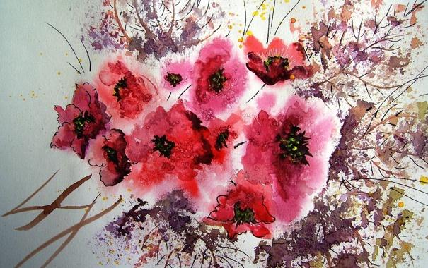 Фото обои цветы, картина, акварель