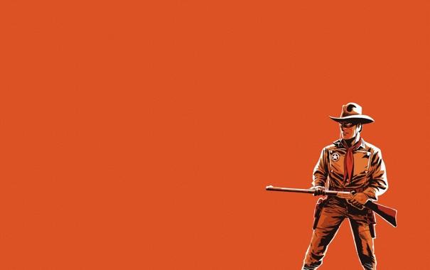 Фото обои оружие, минимализм, шляпа, ковбой, ружье, оранжевый фон, рейнджер