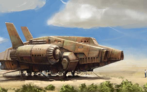 Фото обои мотор, кусты, небо, поле, хвост, корабль