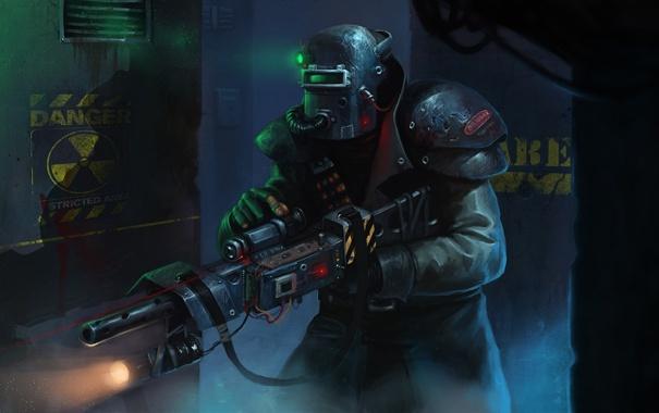 Фото обои автомат, прицел, опасность, маска, помещение, человек, шлем