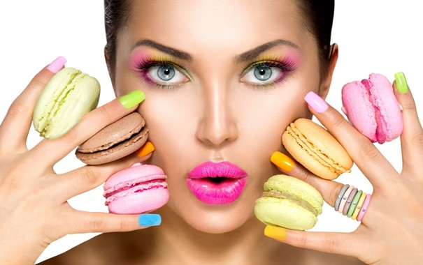 Фото обои colorful, macaroons, beauty fashion model girl