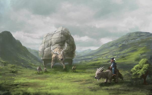 Фото обои животные, трава, горы, путешественник, арт