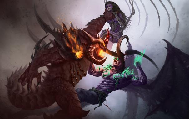 Фото обои starcraft, zerg, World of Warcraft, битва, Warcraft, diablo, wow