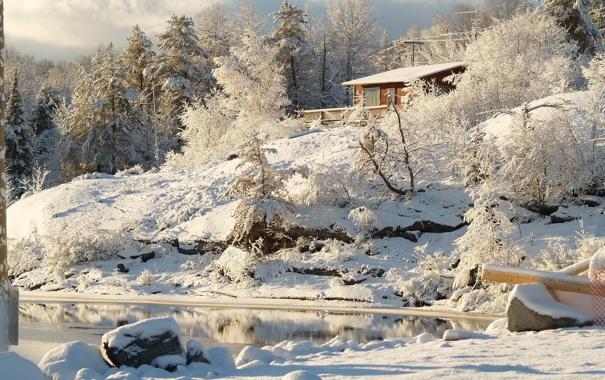 Фото обои зима, снег, деревья, природа, река, Канада, Онтарио