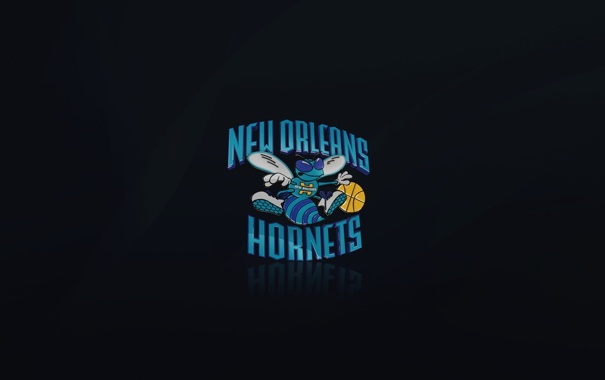 Фото обои Черный, Синий, Баскетбол, Логотип, NBA, New Orleans, Шершни