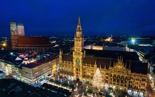 Фото обои фото, Дома, Ночь, Город, Германия, Munich