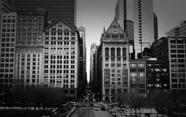 Фото обои здания, небоскребы, черно белое, америка, чикаго, Chicago, сша