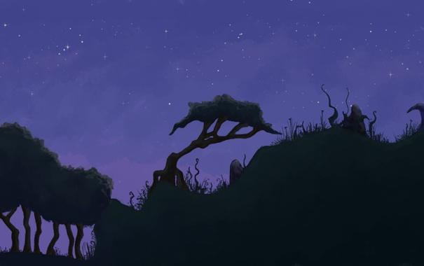Фото обои трава, деревья, ночь, холмы, рисунок, грибы, бугры