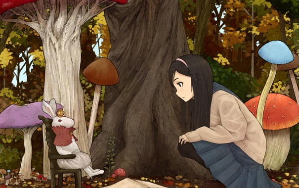 Фото обои грибы, кролик, alice in wonderland, алиса встране чудес