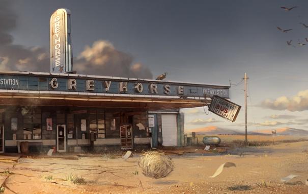 Фото обои The Cartel, бар, кафе, остановка, Call Of Juarez, пустош, птицы