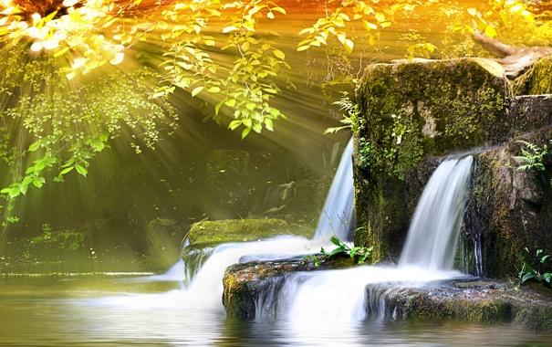 Фото обои вода, лучи, свет, природа, фото, обои