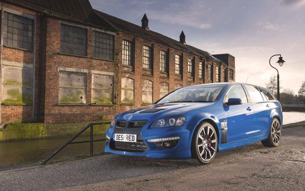 Фото обои Авто, Синий, Машина, Здание, Vauxhall, VXR8, Передок