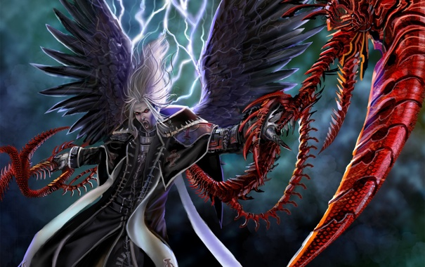 Фото обои молнии, кровавый, ангел тьмы