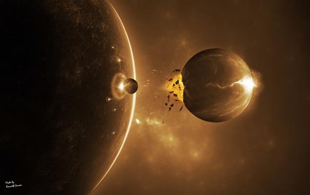Фото обои обломки, луна, удар, метеорит, конец