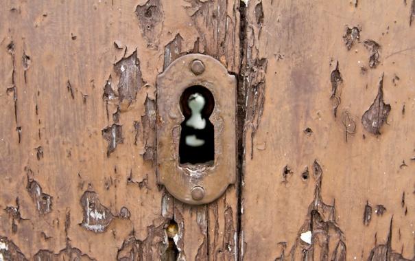 Фото обои макро, замок, дверь