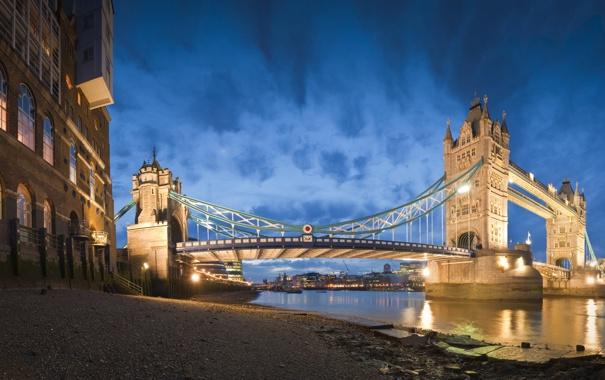 Фото обои песок, небо, пейзаж, ночь, мост, city, город