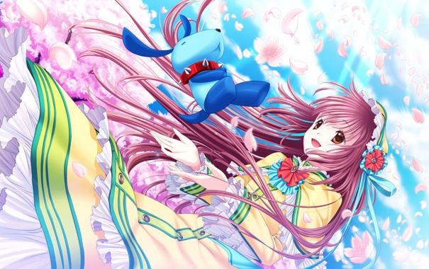 Фото обои девушка, облака, цветы, игрушка, собака, аниме, лепестки