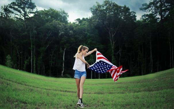 Фото обои девушка, настроение, флаг