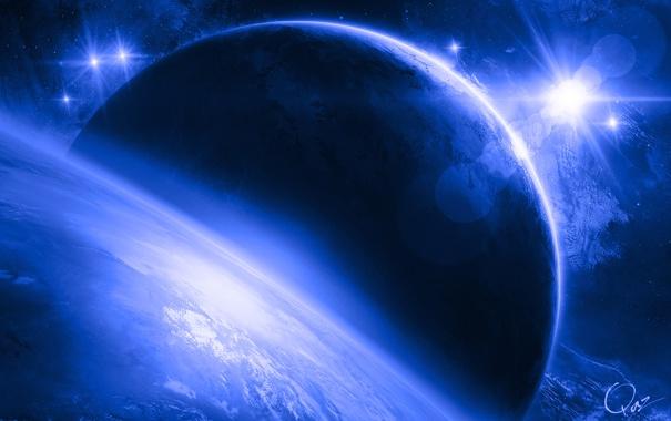 Фото обои космос, сияние, звёзды, Планеты, QAuZ