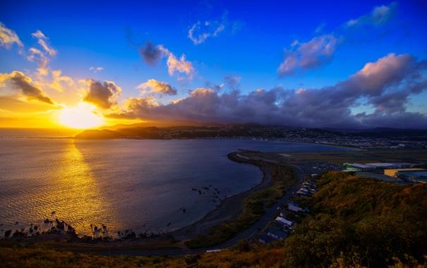 Фото обои закат, облака, горизонт, небо, солнце, Новая Зеландия, море
