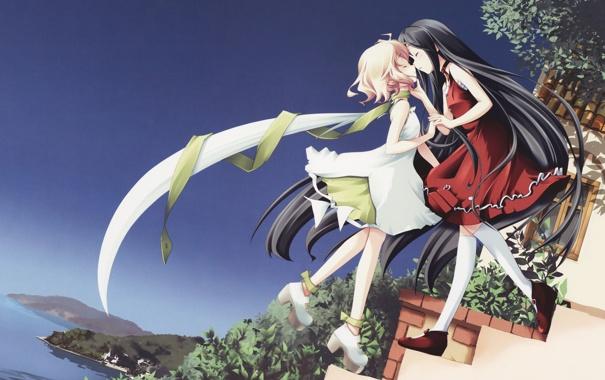 Фото обои девушки, поцелуй, шарф, ступеньки, платья