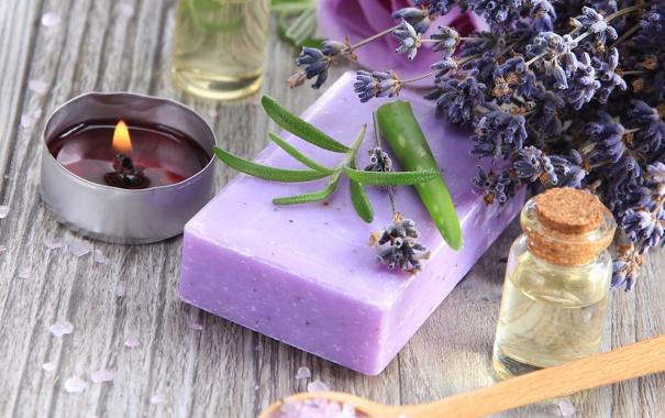 Фото обои soap, lavender, spa, salt, oil, zen