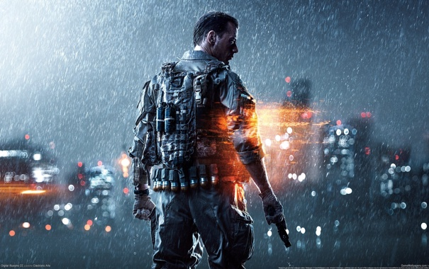 Фото обои огни, пистолет, оружие, дождь, дома, солдат, перчатки