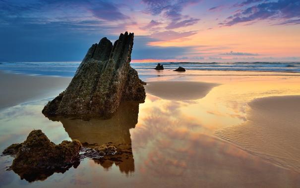 Фото обои море, пляж, скала, краски, камень, заката