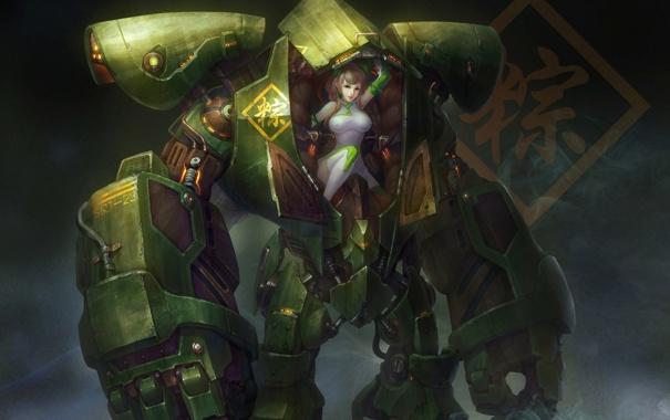 Фото обои робот, Девушка, кабина, простой фон