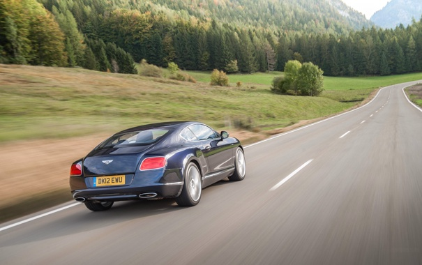 Фото обои Bentley, Continental, Дорога, Горы, Синий, Лес, Машина
