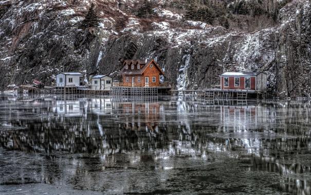 Фото обои пейзаж, дом, озеро, гора