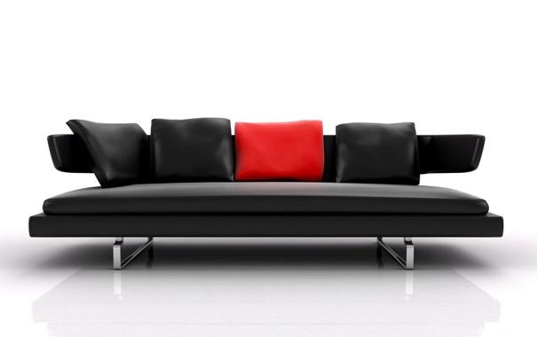 Фото обои отражение, диван, подушки