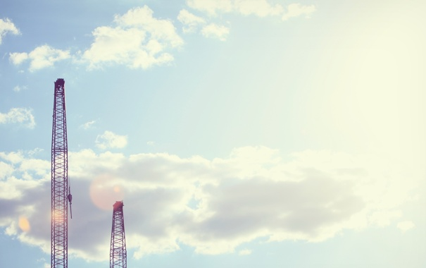 Фото обои небо, кран, Порт, Город, City, wallpapers, облока