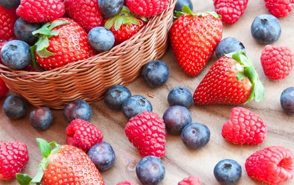 Фото обои ягоды, малина, черника, клубника, корзинка, fresh, strawberry